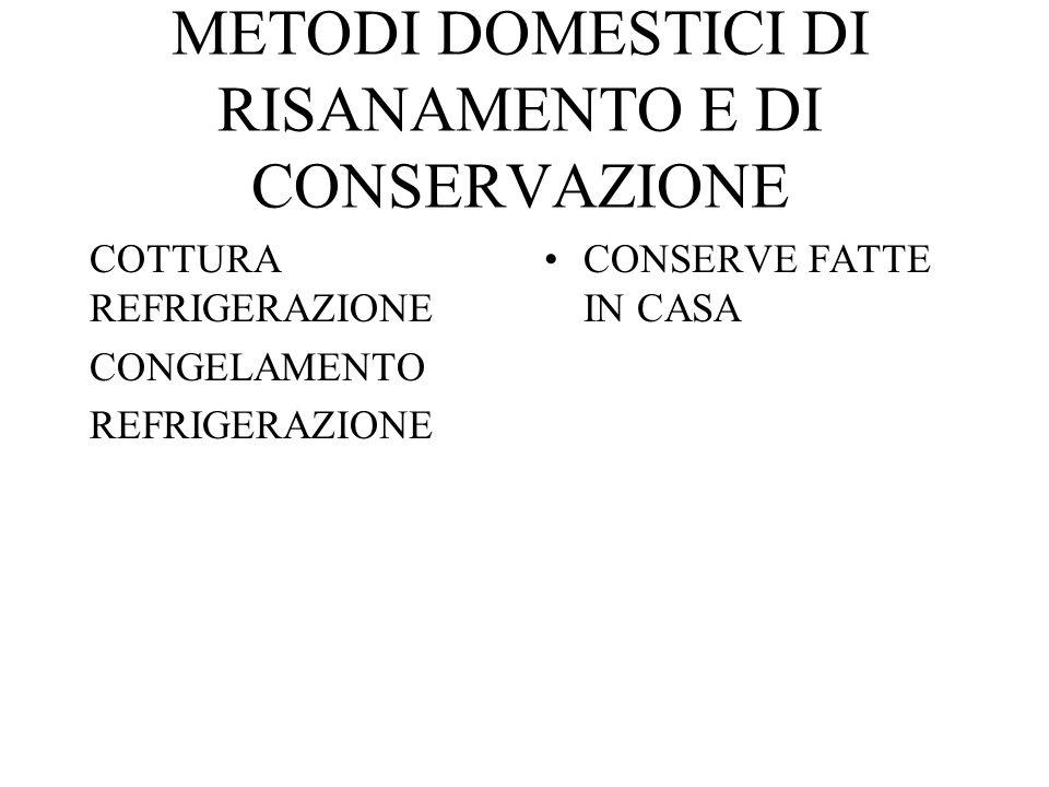 METODI DOMESTICI DI RISANAMENTO E DI CONSERVAZIONE COTTURA REFRIGERAZIONE CONGELAMENTO REFRIGERAZIONE CONSERVE FATTE IN CASA
