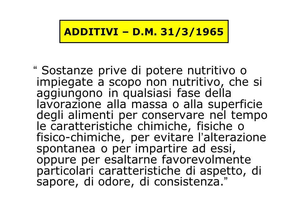 Additivi alimentari D.M.