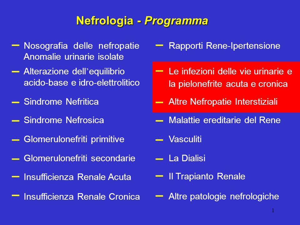 1 Nosografia delle nefropatie Anomalie urinarie isolate Alterazione dell equilibrio acido-base e idro-elettrolitico Glomerulonefriti primitive Insuffi