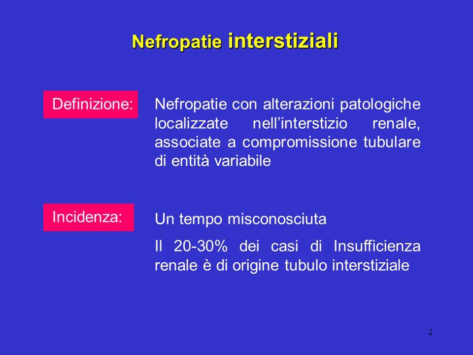 2 Definizione: Nefropatie interstiziali Nefropatie con alterazioni patologiche localizzate nellinterstizio renale, associate a compromissione tubulare