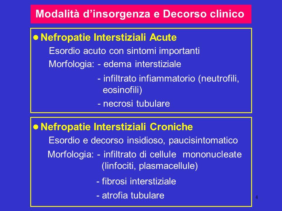 4 Modalità dinsorgenza e Decorso clinico Nefropatie Interstiziali Acute Esordio acuto con sintomi importanti Morfologia: - edema interstiziale - infil