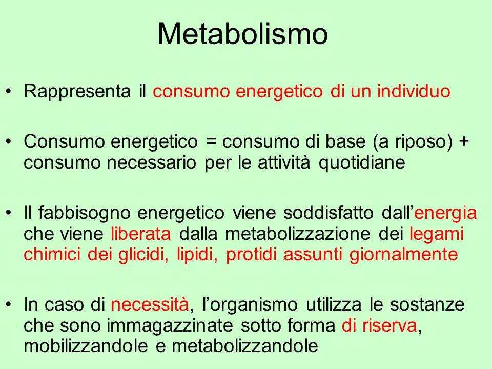 Metabolismo Rappresenta il consumo energetico di un individuo Consumo energetico = consumo di base (a riposo) + consumo necessario per le attività quo