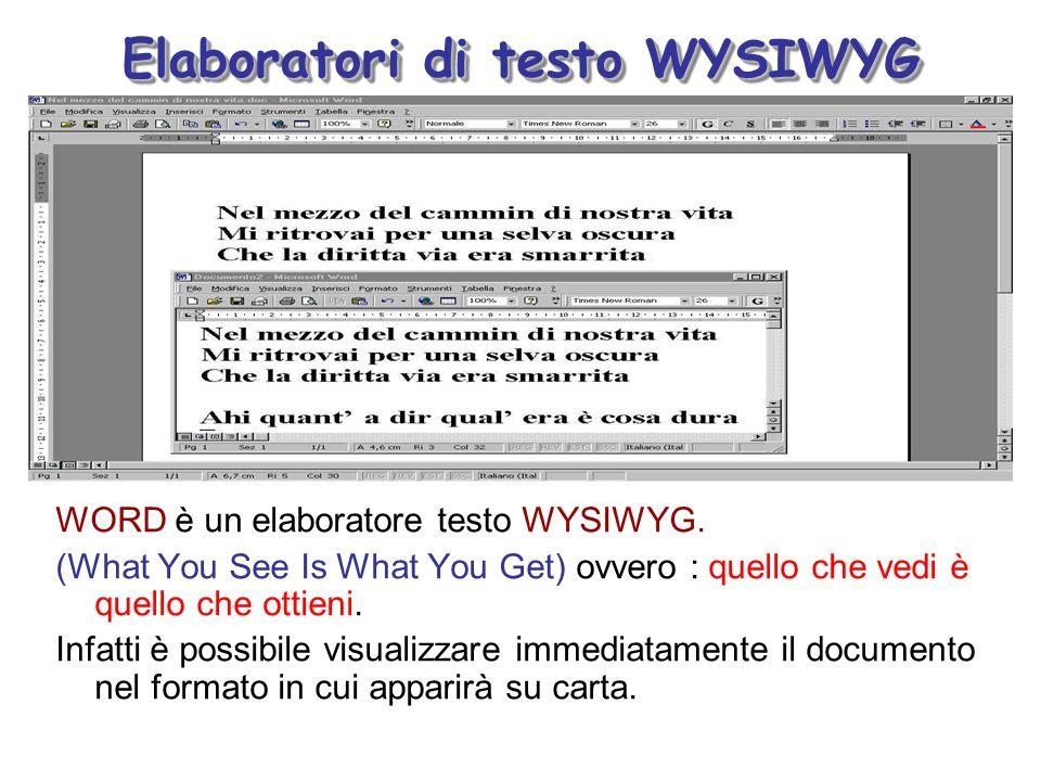 Elaboratori di testo WYSIWYG WORD è un elaboratore testo WYSIWYG. (What You See Is What You Get) ovvero : quello che vedi è quello che ottieni. Infatt