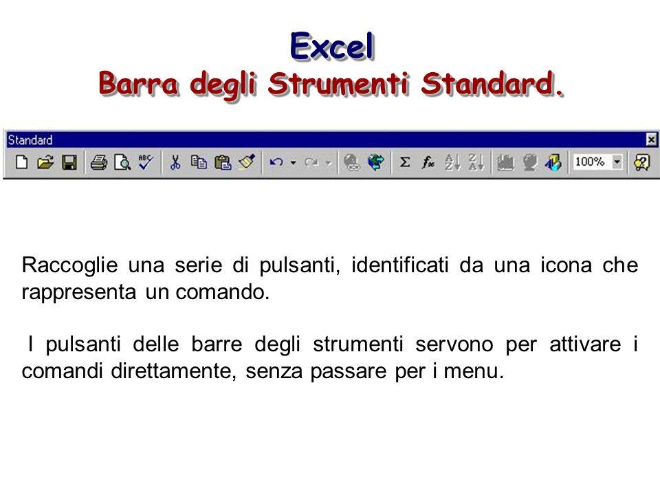 Excel Barra degli Strumenti Standard. Excel Raccoglie una serie di pulsanti, identificati da una icona che rappresenta un comando. I pulsanti delle ba