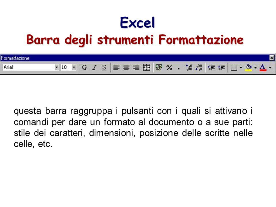 Excel Barra degli strumenti Formattazione questa barra raggruppa i pulsanti con i quali si attivano i comandi per dare un formato al documento o a sue