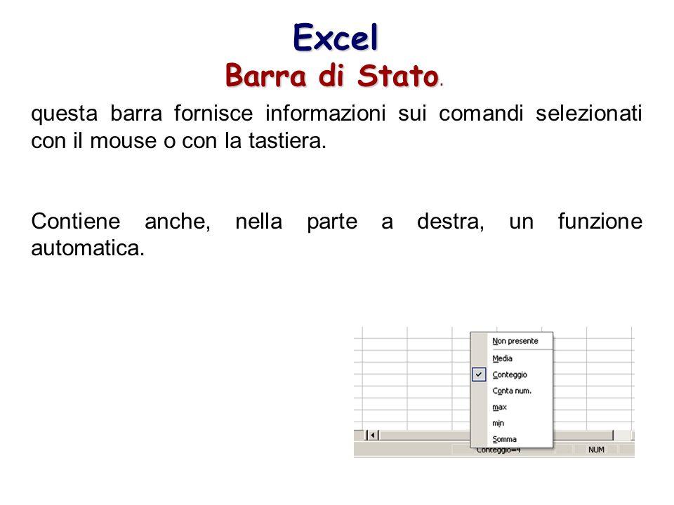 Excel Barra di Stato Barra di Stato. questa barra fornisce informazioni sui comandi selezionati con il mouse o con la tastiera. Contiene anche, nella