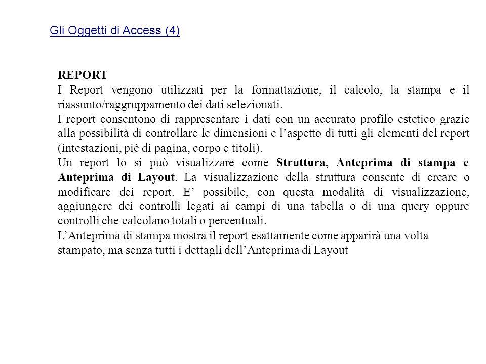 Gli Oggetti di Access (4) REPORT I Report vengono utilizzati per la formattazione, il calcolo, la stampa e il riassunto/raggruppamento dei dati selezi