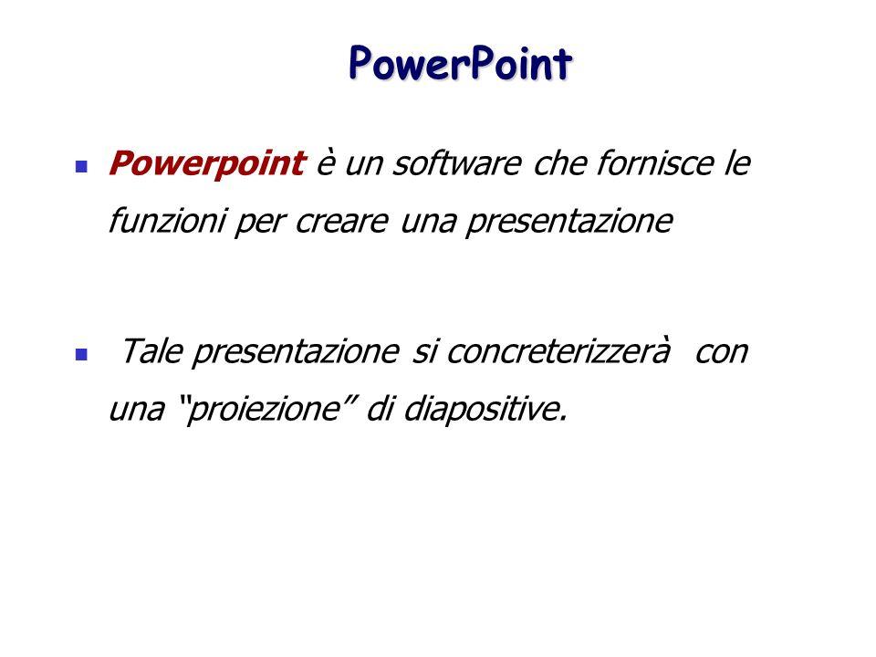 PowerPoint PowerPoint Powerpoint è un software che fornisce le funzioni per creare una presentazione Tale presentazione si concreterizzerà con una pro