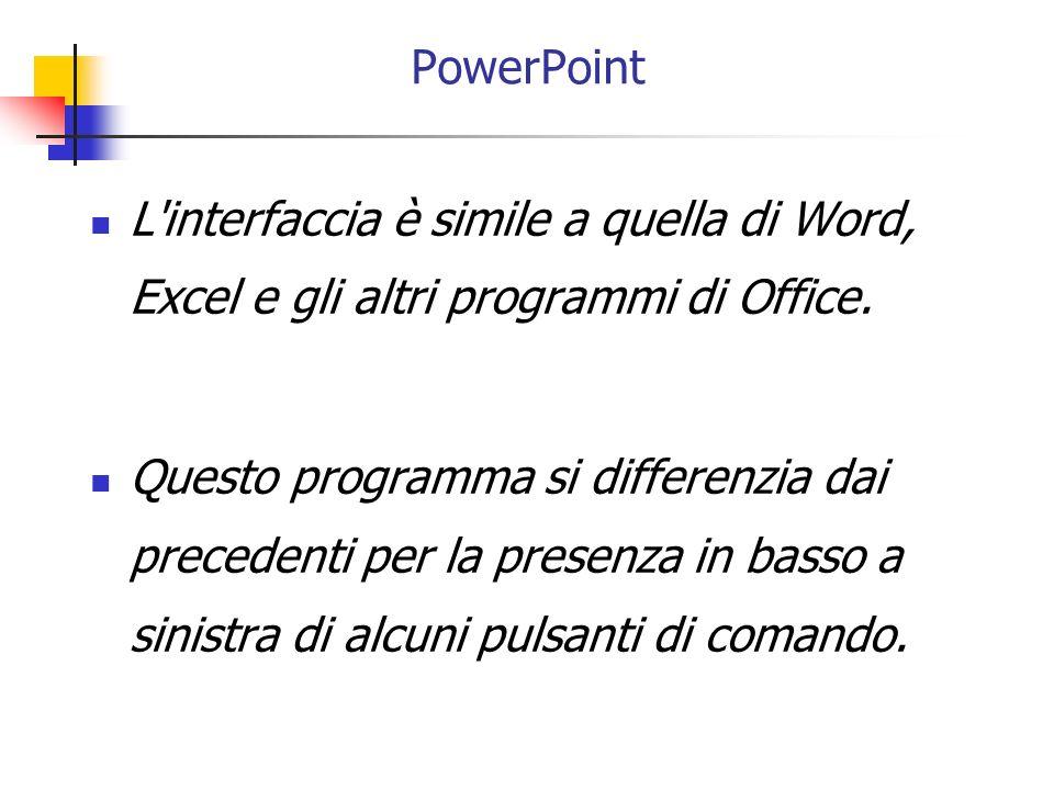 L'interfaccia è simile a quella di Word, Excel e gli altri programmi di Office. Questo programma si differenzia dai precedenti per la presenza in bass