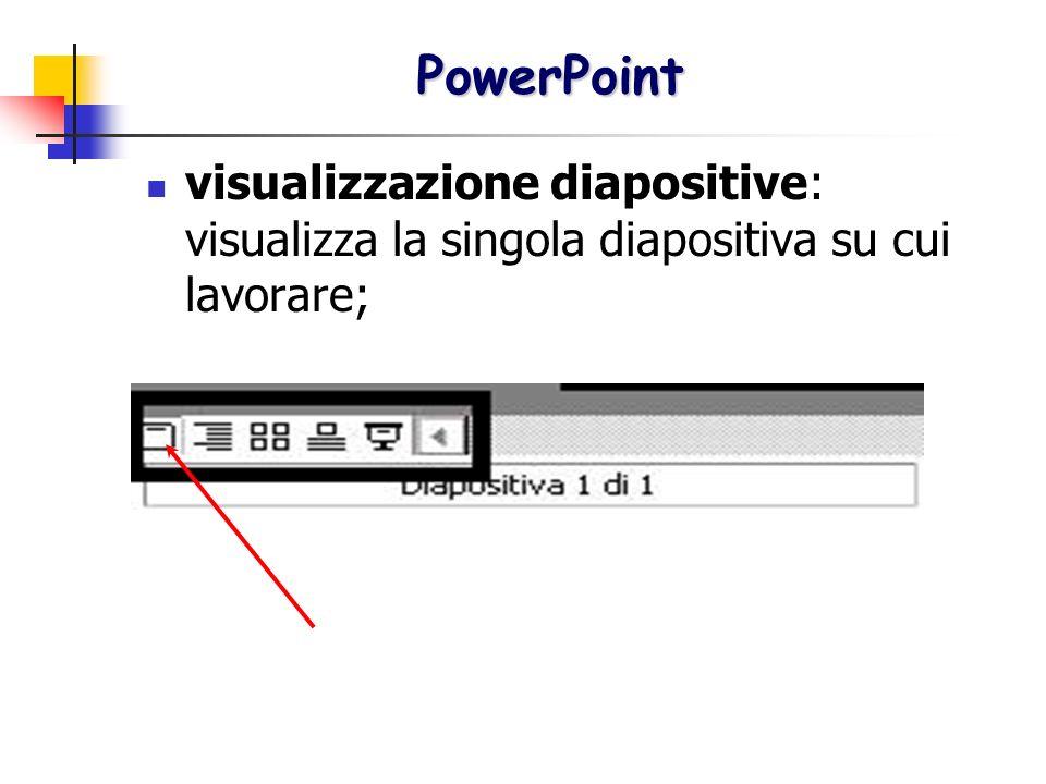 visualizzazione diapositive: visualizza la singola diapositiva su cui lavorare; PowerPoint PowerPoint