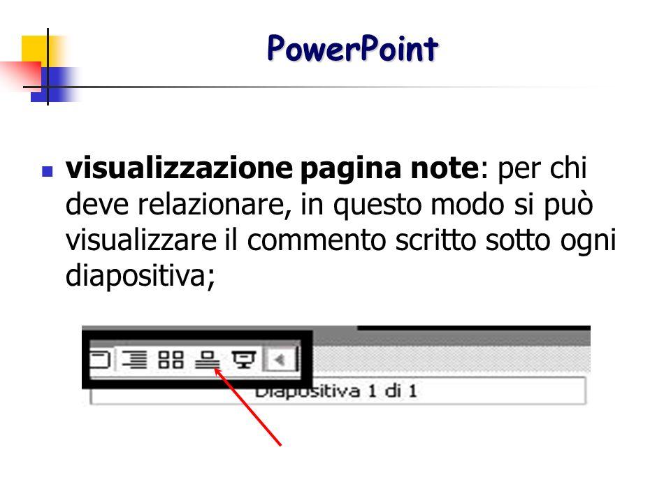 visualizzazione pagina note: per chi deve relazionare, in questo modo si può visualizzare il commento scritto sotto ogni diapositiva; PowerPoint Power