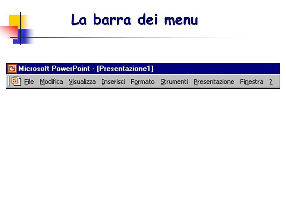 La barra dei menu