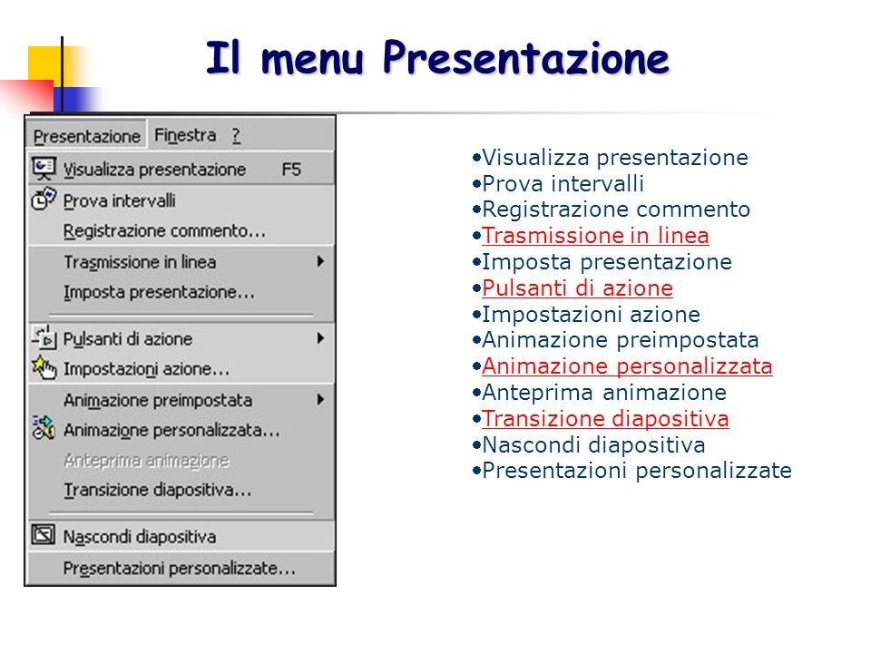 Il menu Presentazione Visualizza presentazione Prova intervalli Registrazione commento Trasmissione in linea Imposta presentazione Pulsanti di azione