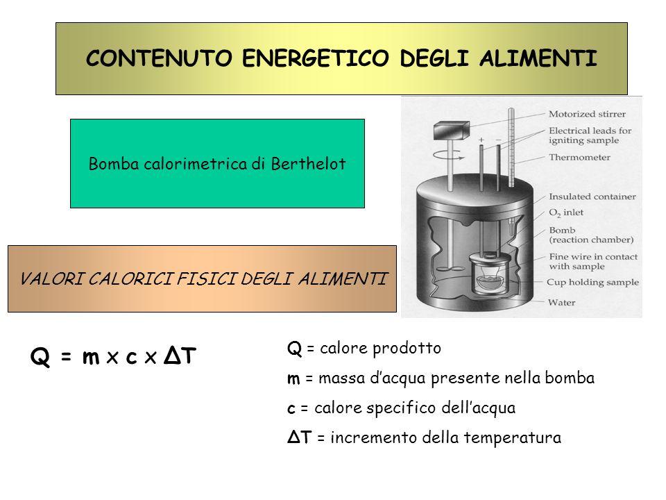 CONTENUTO ENERGETICO DEGLI ALIMENTI Bomba calorimetrica di Berthelot Q = m x c x T Q = calore prodotto m = massa dacqua presente nella bomba c = calor