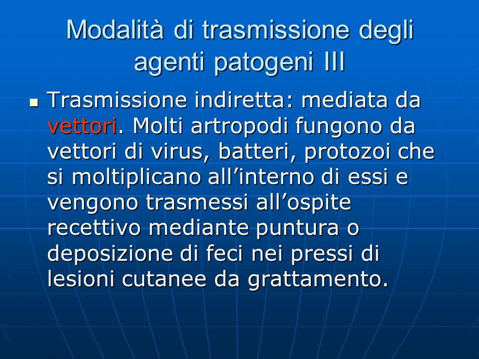 Modalità di trasmissione degli agenti patogeni III Trasmissione indiretta: mediata da vettori. Molti artropodi fungono da vettori di virus, batteri, p