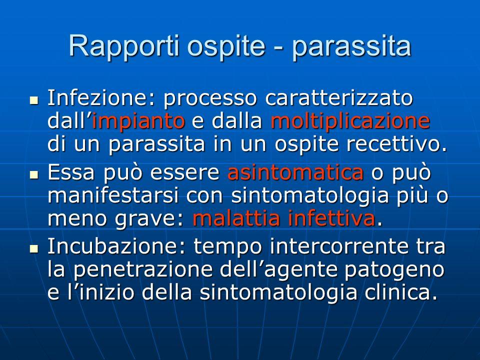 Rapporti ospite - parassita Infezione: processo caratterizzato dallimpianto e dalla moltiplicazione di un parassita in un ospite recettivo. Infezione: