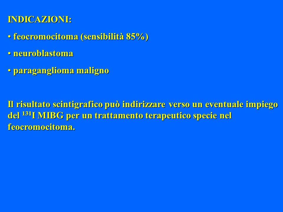 INDICAZIONI: feocromocitoma (sensibilità 85%) feocromocitoma (sensibilità 85%) neuroblastoma neuroblastoma paraganglioma maligno paraganglioma maligno