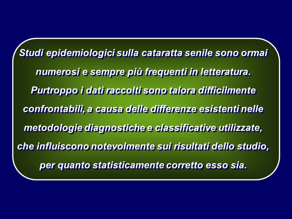 Studi epidemiologici sulla cataratta senile sono ormai numerosi e sempre più frequenti in letteratura. Purtroppo i dati raccolti sono talora difficilm