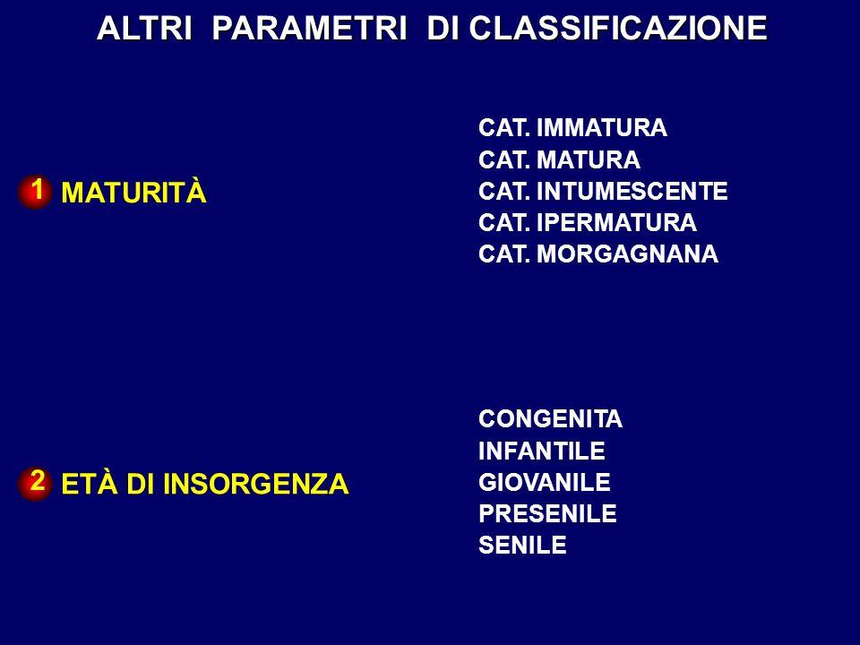 ALTRI PARAMETRI DI CLASSIFICAZIONE MATURITÀ CAT. IMMATURA CAT. MATURA CAT. INTUMESCENTE CAT. IPERMATURA CAT. MORGAGNANA ETÀ DI INSORGENZA CONGENITA IN