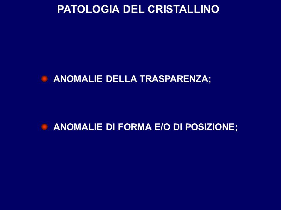 PATOLOGIA DEL CRISTALLINO ANOMALIE DELLA TRASPARENZA; ANOMALIE DI FORMA E/O DI POSIZIONE;