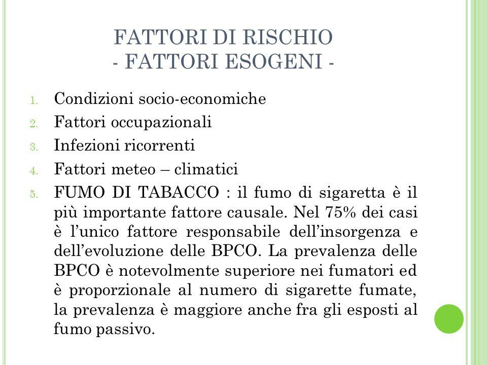 FATTORI DI RISCHIO - FATTORI ESOGENI - 1. Condizioni socio-economiche 2. Fattori occupazionali 3. Infezioni ricorrenti 4. Fattori meteo – climatici 5.