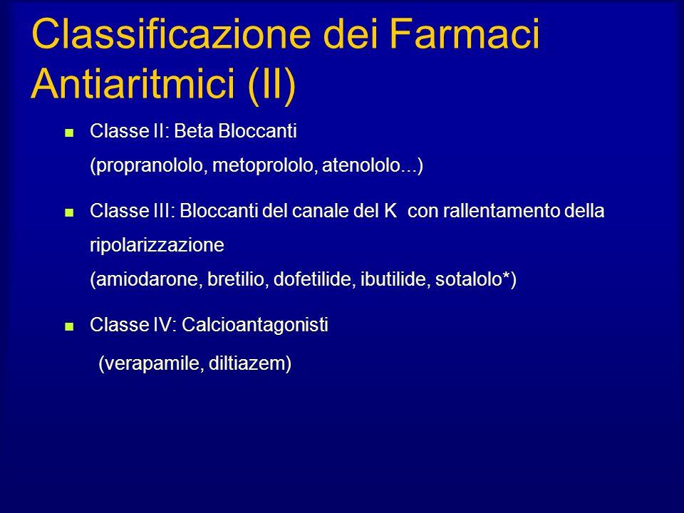 Classificazione dei Farmaci Antiaritmici (II) Classe II: Beta Bloccanti (propranololo, metoprololo, atenololo...) Classe III: Bloccanti del canale del K con rallentamento della ripolarizzazione (amiodarone, bretilio, dofetilide, ibutilide, sotalolo*) Classe IV: Calcioantagonisti (verapamile, diltiazem)