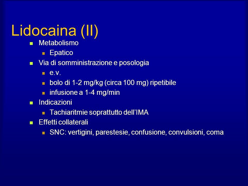 Lidocaina (II) Metabolismo Epatico Via di somministrazione e posologia e.v.