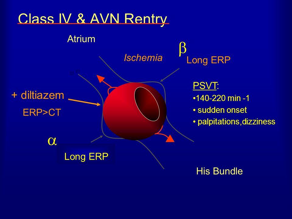 Class IV & AVN Rentry His Bundle Normal ERP PSVT: 140-220 min -1 sudden onset palpitations,dizziness Ischemia Atrium Long ERP + diltiazem ERP>CT Long ERP