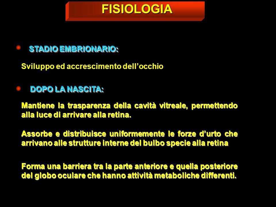 Sintomatologia CORPI FLUTTUANTI FOTOPSIEFOTOPSIE METAMORFOPSIEMETAMORFOPSIE EMORRAGIE LIEVI OPACITÀ ANULARE AL DAVANTI DELLA PAPILLA INDIVIDUAZIONE IALOIDE POST.