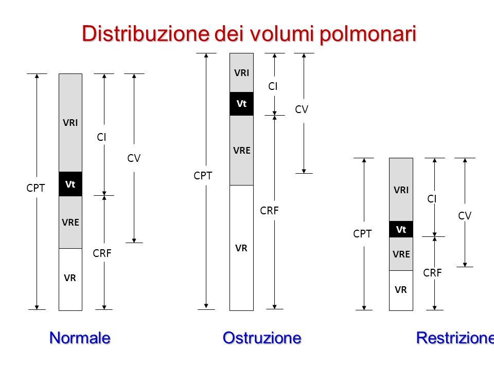 Normale Ostruzione Restrizione CRF VRI VR VRE Vt CV CPT CI CRF VRI VR VRE Vt CV CPT CI CRF VRI VR VRE Vt CV CPT CI Distribuzione dei volumi polmonari