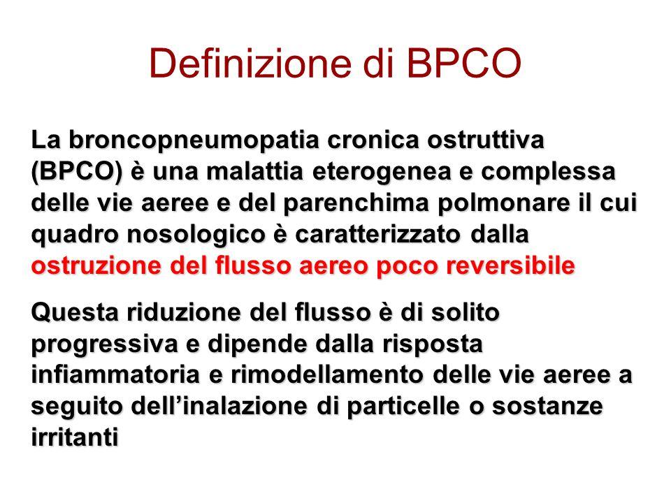 BPCO: Malattia composita con più fenotipi BRONCHITECRONICAENFISEMAPOLMONARE OSTRUZIONE DEL FLUSSO AEREO BPCO