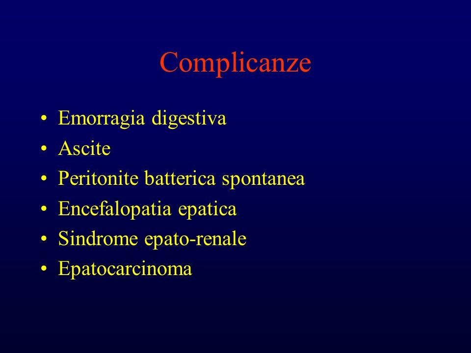 Complicanze Emorragia digestiva Ascite Peritonite batterica spontanea Encefalopatia epatica Sindrome epato-renale Epatocarcinoma