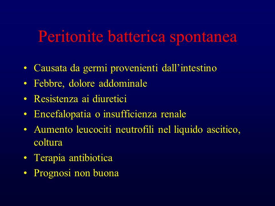 Peritonite batterica spontanea Causata da germi provenienti dallintestino Febbre, dolore addominale Resistenza ai diuretici Encefalopatia o insufficienza renale Aumento leucociti neutrofili nel liquido ascitico, coltura Terapia antibiotica Prognosi non buona