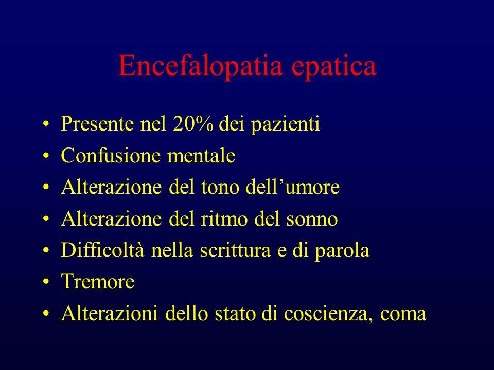 Encefalopatia epatica Presente nel 20% dei pazienti Confusione mentale Alterazione del tono dellumore Alterazione del ritmo del sonno Difficoltà nella scrittura e di parola Tremore Alterazioni dello stato di coscienza, coma