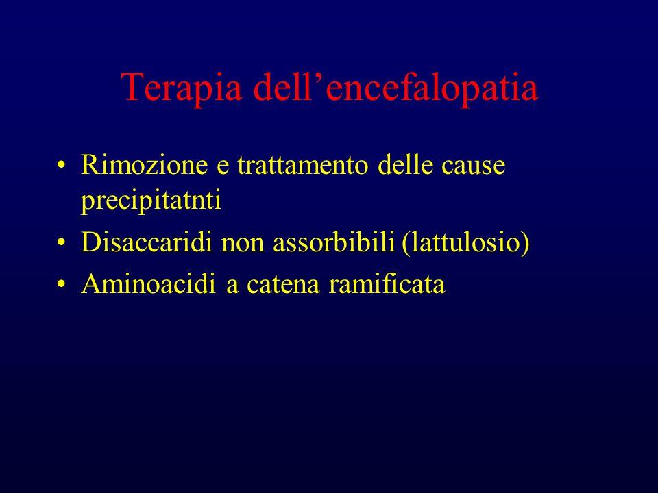 Terapia dellencefalopatia Rimozione e trattamento delle cause precipitatnti Disaccaridi non assorbibili (lattulosio) Aminoacidi a catena ramificata