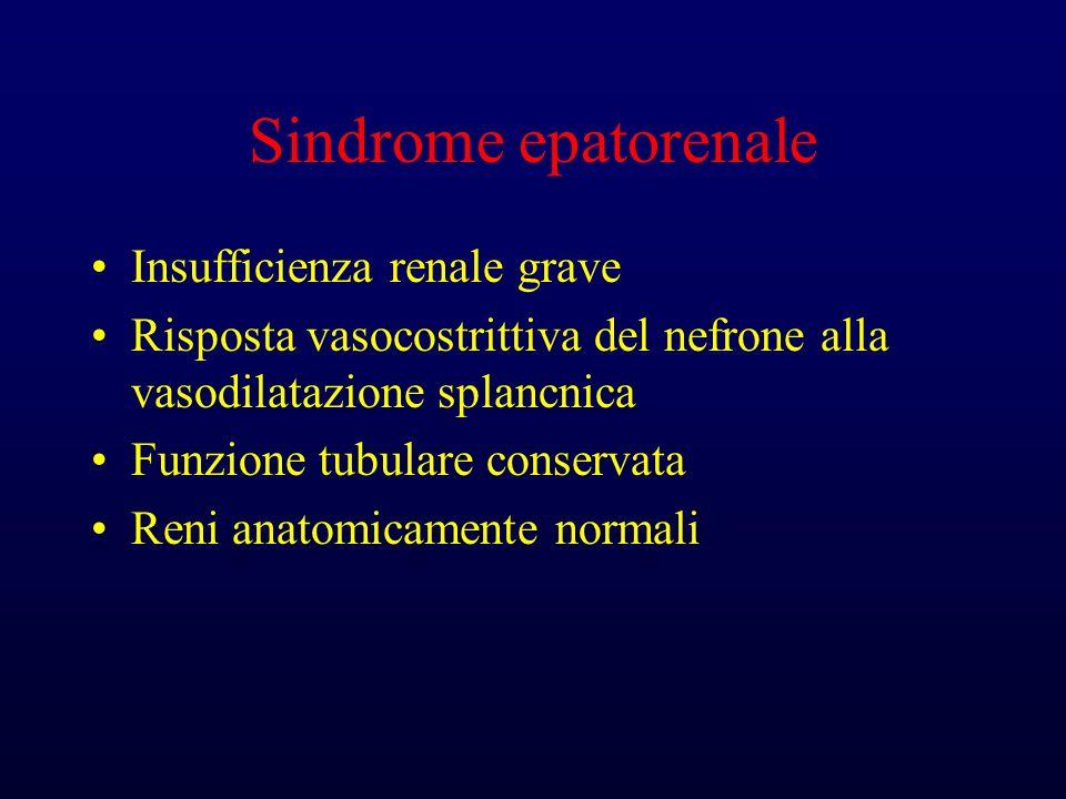 Sindrome epatorenale Insufficienza renale grave Risposta vasocostrittiva del nefrone alla vasodilatazione splancnica Funzione tubulare conservata Reni anatomicamente normali