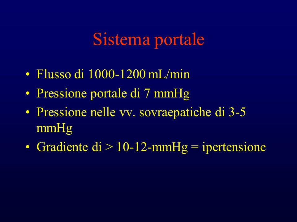 Sistema portale Flusso di 1000-1200 mL/min Pressione portale di 7 mmHg Pressione nelle vv. sovraepatiche di 3-5 mmHg Gradiente di > 10-12-mmHg = ipert