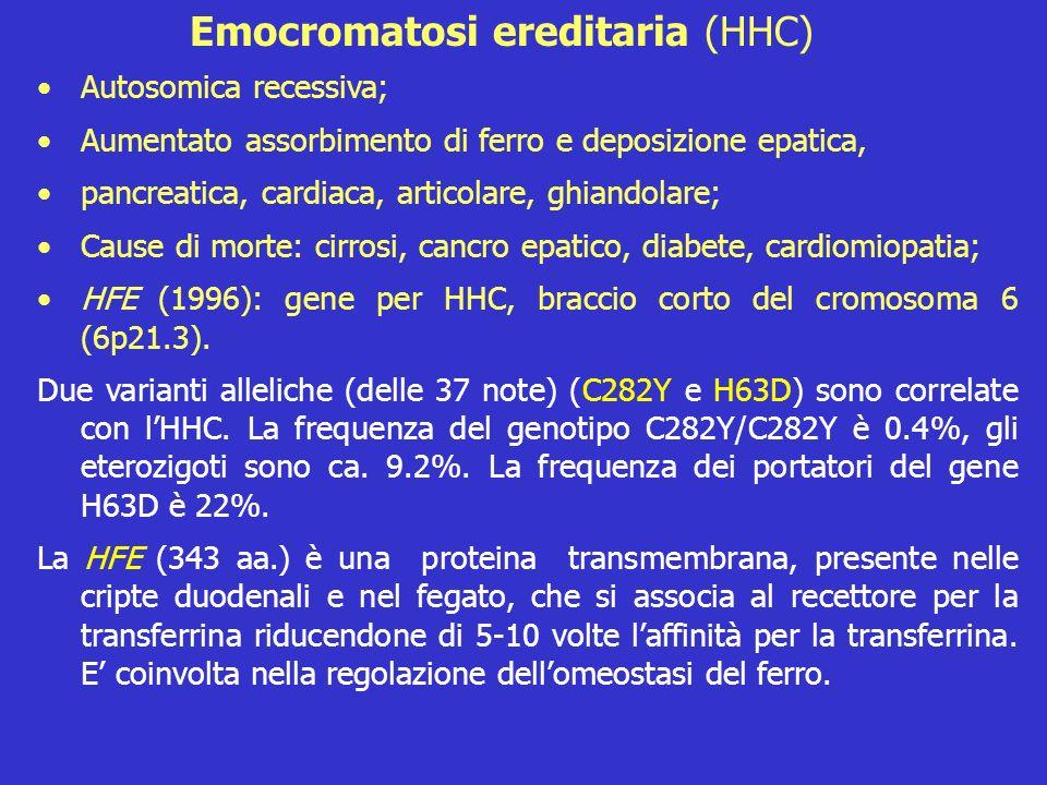 Autosomica recessiva; Aumentato assorbimento di ferro e deposizione epatica, pancreatica, cardiaca, articolare, ghiandolare; Cause di morte: cirrosi,