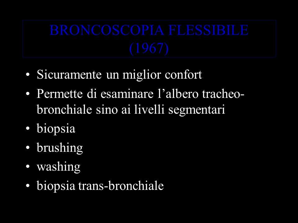 BRONCOSCOPIA FLESSIBILE (1967) Sicuramente un miglior confort Permette di esaminare lalbero tracheo- bronchiale sino ai livelli segmentari biopsia brushing washing biopsia trans-bronchiale