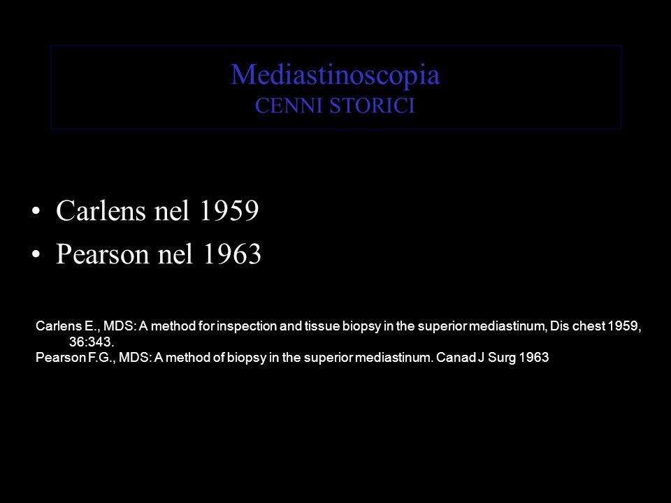 Mediastinoscopia CENNI STORICI Carlens nel 1959 Pearson nel 1963 Carlens E., MDS: A method for inspection and tissue biopsy in the superior mediastinu