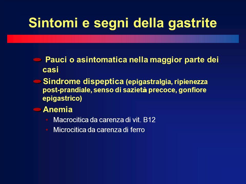 Sintomi e segni della gastrite Pauci o asintomatica nella maggior parte dei casi Sindrome dispeptica (epigastralgia, ripienezza post-prandiale, senso