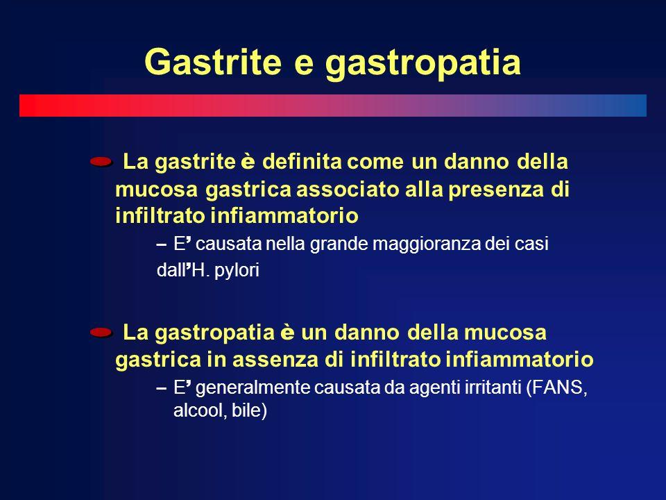 Gastrite e gastropatia La gastrite è definita come un danno della mucosa gastrica associato alla presenza di infiltrato infiammatorio – E causata nell