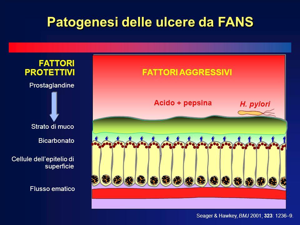 Bicarbonato FATTORI PROTETTIVI Prostaglandine Flusso ematico Cellule dellepitelio di superficie Strato di muco FATTORI AGGRESSIVI Acido + pepsina H. p