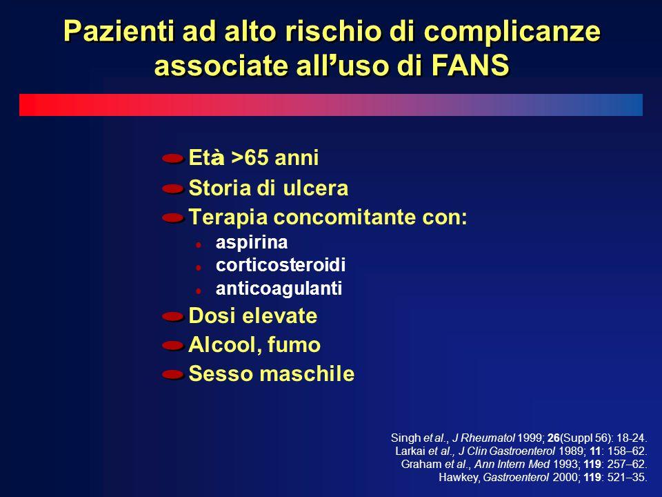 Et à >65 anni Storia di ulcera Terapia concomitante con: l aspirina l corticosteroidi l anticoagulanti Dosi elevate Alcool, fumo Sesso maschile Singh