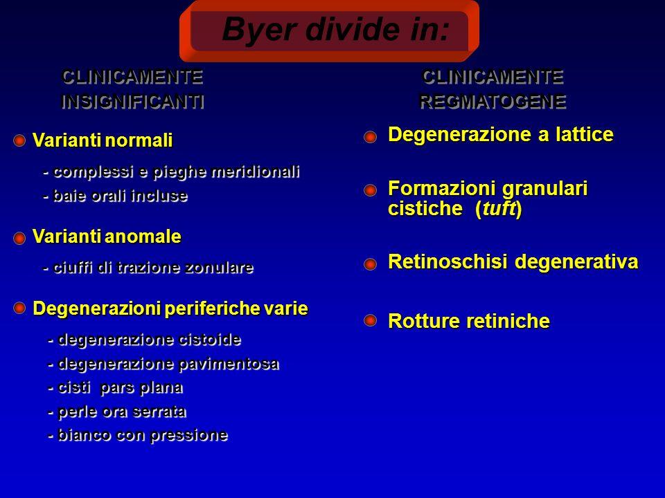 Byer divide in: CLINICAMENTE INSIGNIFICANTI CLINICAMENTE REGMATOGENE Degenerazione a lattice Formazioni granulari cistiche (tuft) Retinoschisi degenerativa Rotture retiniche Degenerazioni periferiche varie - degenerazione cistoide - degenerazione cistoide - degenerazione pavimentosa - degenerazione pavimentosa - cisti pars plana - cisti pars plana - perle ora serrata - perle ora serrata - bianco con pressione - bianco con pressione Varianti anomale - ciuffi di trazione zonulare - ciuffi di trazione zonulare Varianti normali - complessi e pieghe meridionali - complessi e pieghe meridionali - baie orali incluse - baie orali incluse