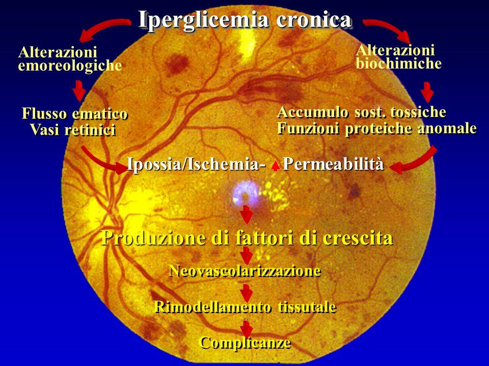 Neovascolarizzazione Rimodellamento tissutale Complicanze Iperglicemia cronica Alterazioni emoreologiche Alterazioni biochimiche Accumulo sost.