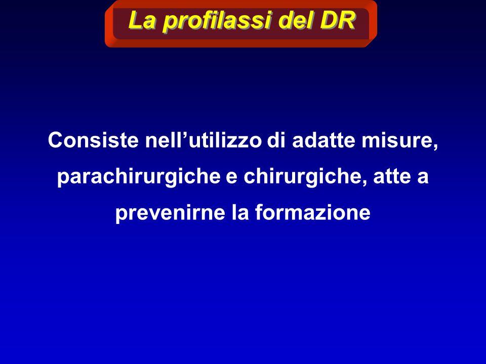 Consiste nellutilizzo di adatte misure, parachirurgiche e chirurgiche, atte a prevenirne la formazione La profilassi del DR