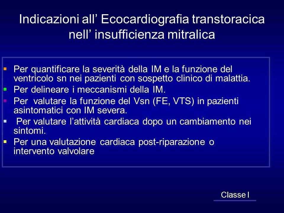 Indicazioni all Ecocardiografia transtoracica nell insufficienza mitralica Per quantificare la severità della IM e la funzione del ventricolo sn nei p