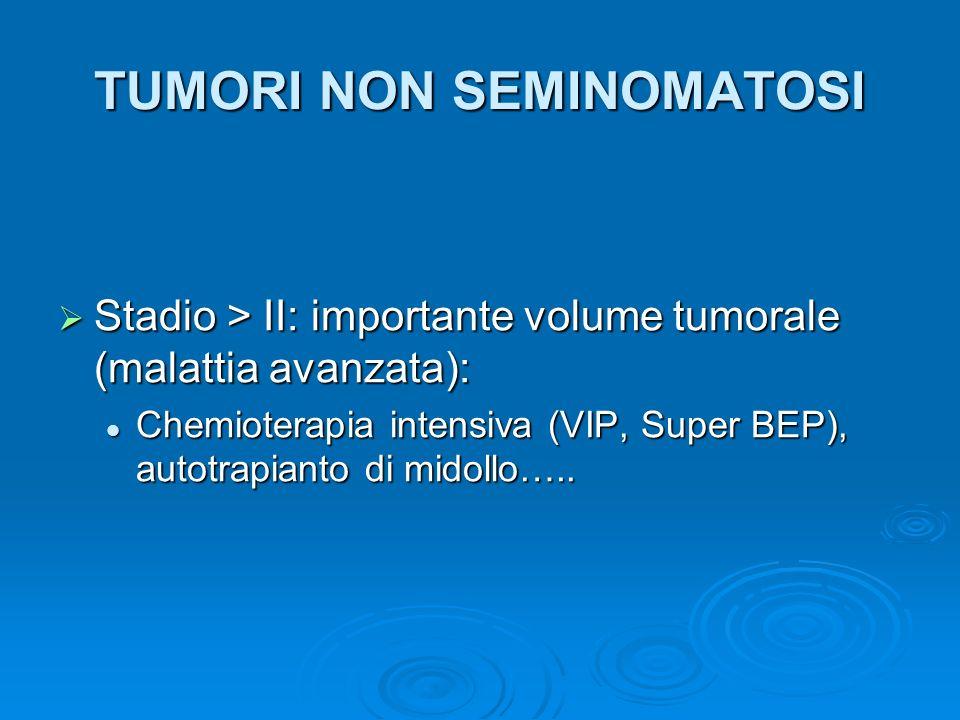 TUMORI NON SEMINOMATOSI Stadio > II: importante volume tumorale (malattia avanzata): Stadio > II: importante volume tumorale (malattia avanzata): Chem