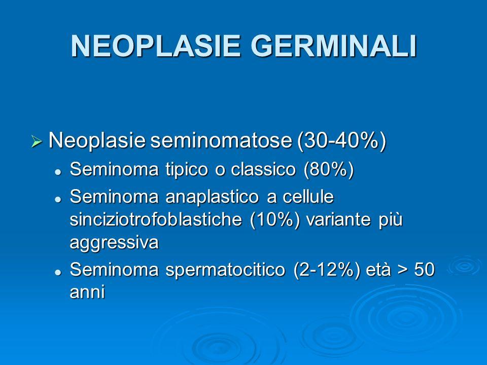 NEOPLASIE GERMINALI Neoplasie non seminomatose (60-70%) Neoplasie non seminomatose (60-70%) Carcinoma embrionario Carcinoma embrionario Tumore del sacco vitellino Tumore del sacco vitellino Corioncarcinoma Corioncarcinoma Teratoma Teratoma MaturoMaturo ImmaturoImmaturo CancerizzatoCancerizzato Post chemioterapiaPost chemioterapia